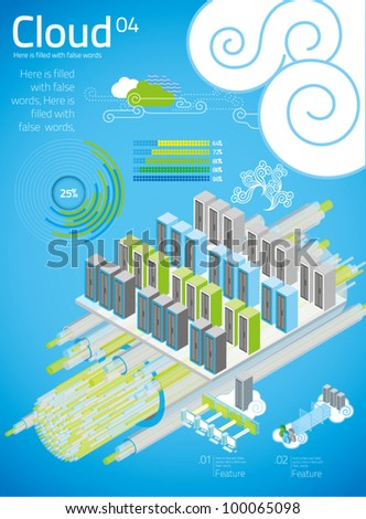 cloud computing with info graphics in blue background 03 - stock vector