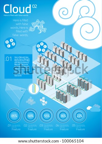 cloud computing with info graphics in blue background 04 - stock vector