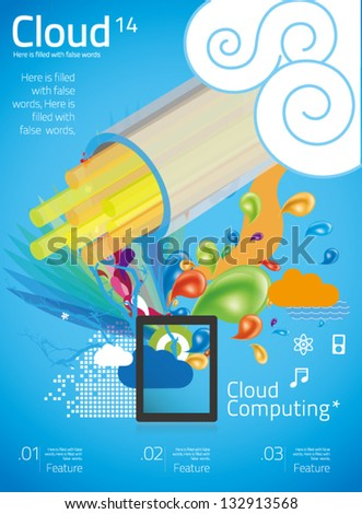 cloud computing with info graphics in blue background 14 - stock vector