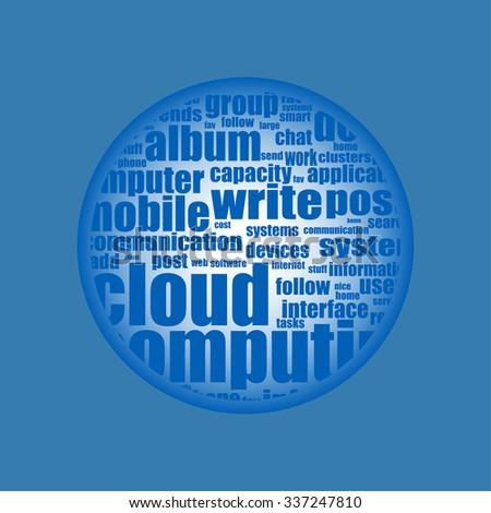 Cloud computing - word cloud background - stock vector