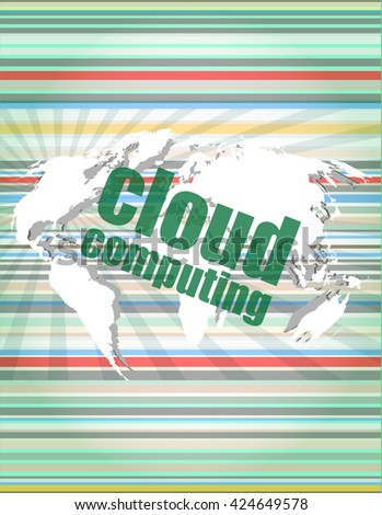 cloud computing word on touch screen, modern virtual technology background vector quotation marks with thin line speech bubble. concept of citation, info, testimonials, notice, textbox. flat style  - stock vector