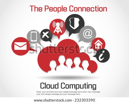 CLOUD COMPUTING WORLD PEOPLE CONNETTING RED - stock vector