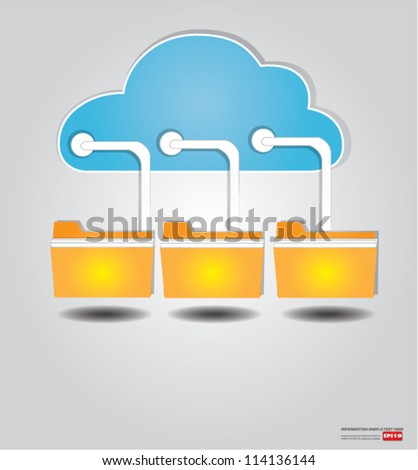 Cloud connected to a folder,Vector