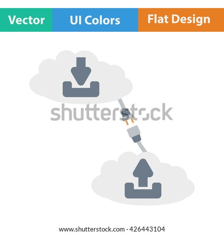 Cloud connection icon. Flat design. Vector illustration. - stock vector