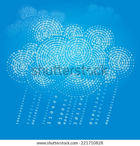Cloud consisting of binary. Eps8. CMYK. Organized by layers. Global colors. Gradients used. - stock vector