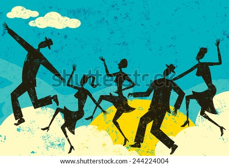 Cloud Dancers People in silhouette dancing on clouds over sunny abstract sky. The people and background are on separate labeled layers. - stock vector