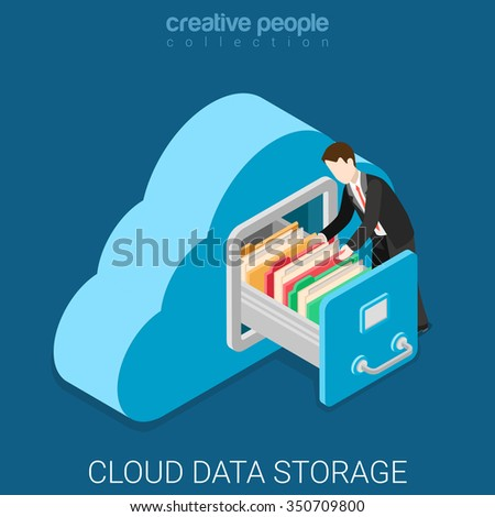 Cloud data storage flat 3d isometry isometric business technology server concept web vector illustration. Businessman put in document drawer folder in cloud-shaped cabinet. Creative people collection. - stock vector