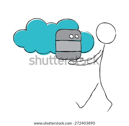 Cloud database concept. IT man with database sign and cloud. - stock vector