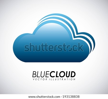 Cloud design over gray background, vector illustration - stock vector