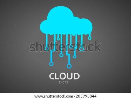 Cloud Digital Icon Stock Vector