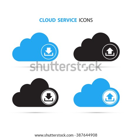 Cloud download and upload icon. Up and down arrows. Cloud computing. Cloud service. Vector Illustration. - stock vector