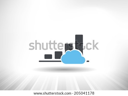 Cloud Economy. Cloud computing concept with rising bar chart and blue cloud. Background and graph layered for easy customization. Fully scalable vector illustration. - stock vector