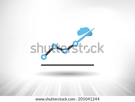 Cloud Economy. Cloud computing concept with rising line chart and blue cloud ending the trendline arrow. Background and graph layered for easy customization. Fully scalable vector illustration. - stock vector