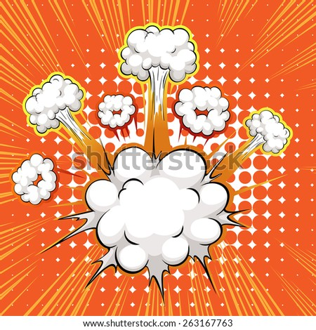Cloud explosion with writing space