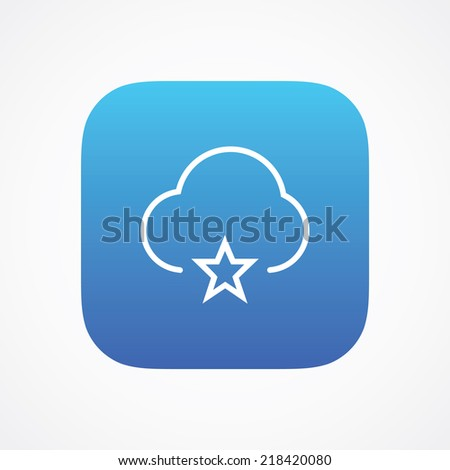Cloud favorites storage icon button, vector illustration. Simple flat metro design style. esp10 - stock vector