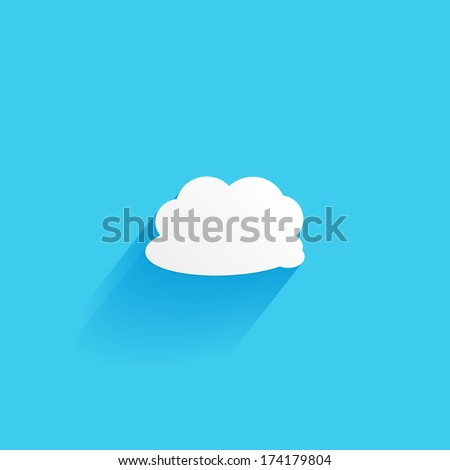 Cloud, flat icon isolated on a blue background for your design, vector illustration - stock vector