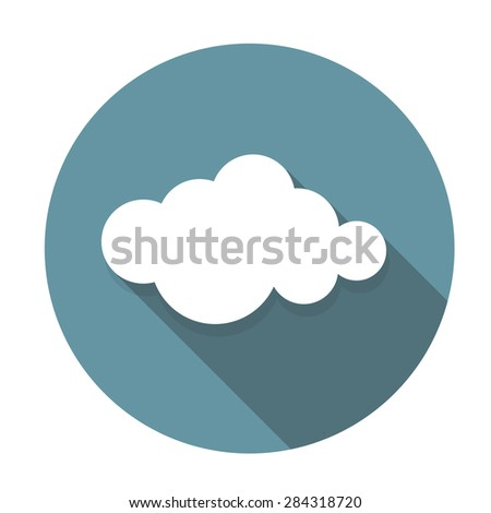 Cloud Flat Icon with Long Shadow, Vector Illustration Eps10 - stock vector