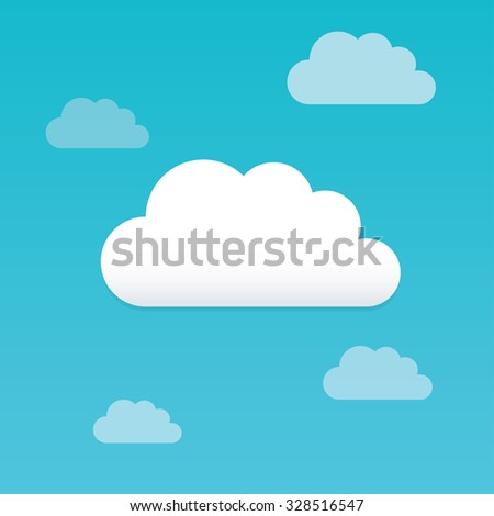 Cloud flat vector background set.