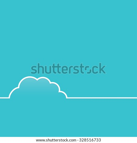 Cloud flat vector template with blue background. Business card cloud template. Presentation, quote placeholder text frame, blank business identity, simple flat modern poster, banner, service sticker