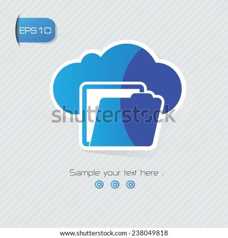 Cloud folder symbol,sticker design,blue version,clean vector - stock vector