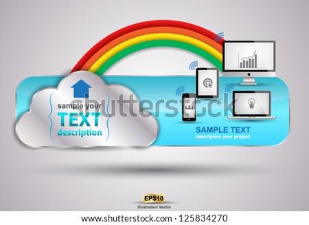 Cloud header concept vector for web / advertising / education technology - stock vector
