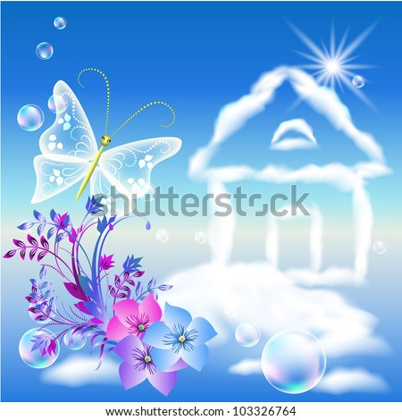 Cloud house in the sky and flowers - stock vector