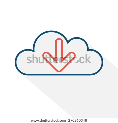 Cloud icon. Cloud icon for cloud computing web and app. Download icon. Vector illustration - stock vector