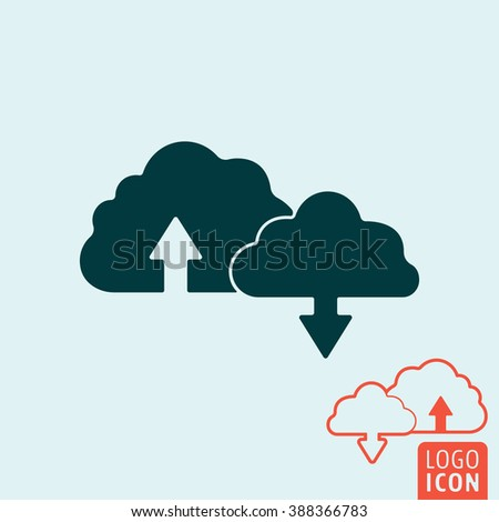 Cloud icon. Cloud symbol. Download and upload icon isolated. Vector illustration