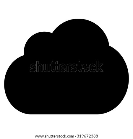 Cloud icon from Primitive Set. This isolated flat symbol is drawn with black color on a white background, angles are rounded.