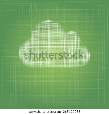 cloud icon on eco green cotton fabric vector background
