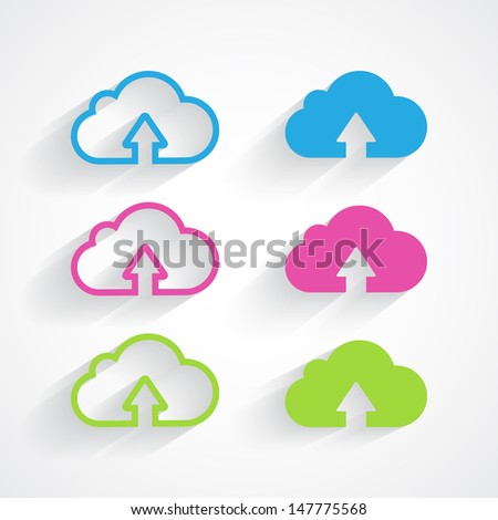 Cloud icon pack with shadow. Vector illustration. - stock vector