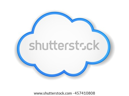 cloud icon - paper label - stock vector
