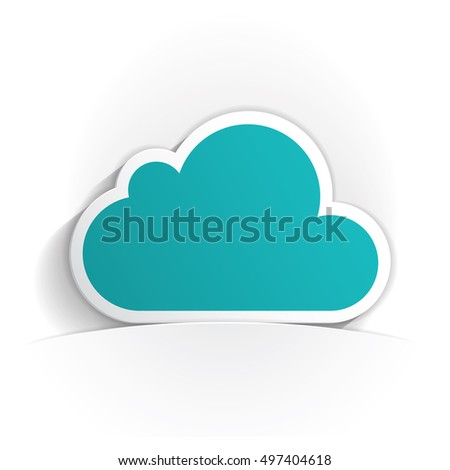 cloud icon paper style full vector