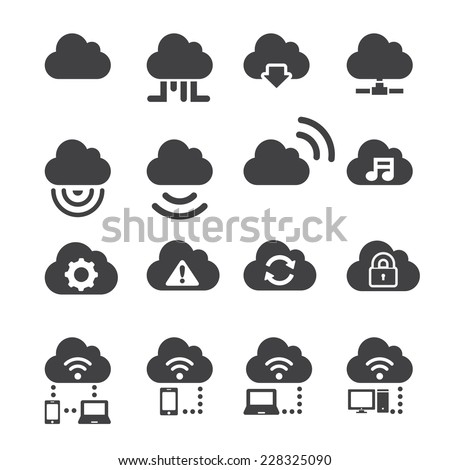 cloud icon set - stock vector