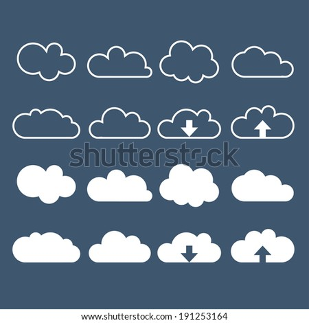 Cloud icon set. Can be used for web and app. Vector illustration - stock vector