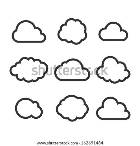 Cloud Icon Set. Vector - stock vector