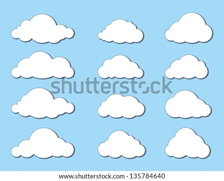 Cloud icon set.  Vector Collection of Weather Symbols.