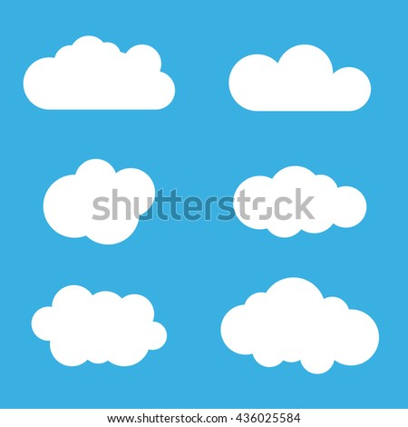 Cloud icons set. White outline isolated on blue sky background. Collection template elements design. Symbol of space, weather, clear and nature. Abstract signs. Flat graphic style. Vector Illustration - stock vector