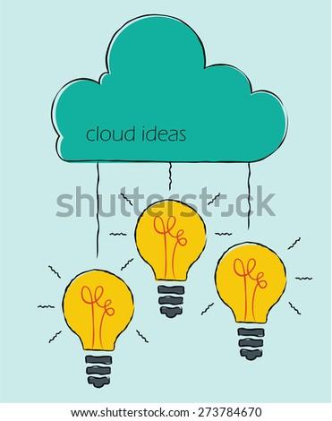 Cloud ideas. Light bulbs with cloud. Hand drawn sketch illustration. - stock vector