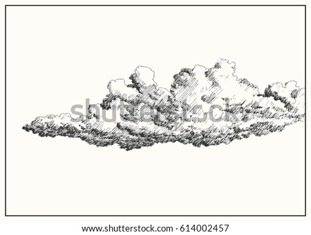 cloud in the sky black and white dashed style sketch line art drawing