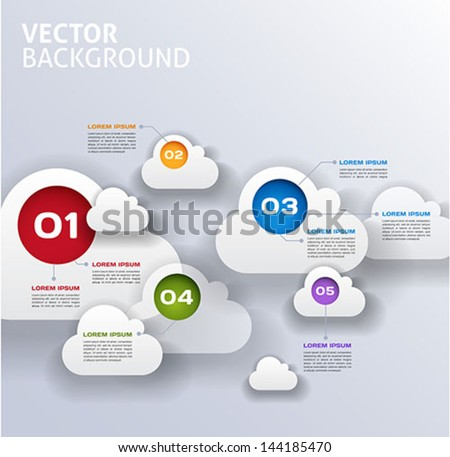 cloud infographics 3d vector background - stock vector