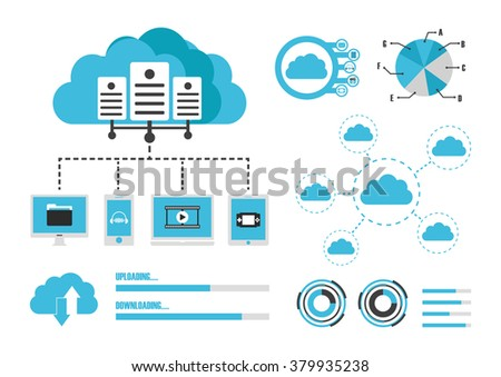 cloud infographics, graph and statistic, database technology, isolated on white background
