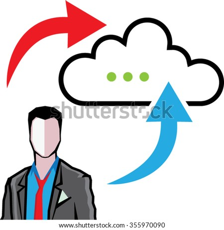 Cloud information exchange progress businessman - stock vector