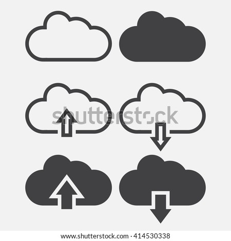 cloud line icon, outline and solid vector illustration, linear pictogram isolated on gray - stock vector