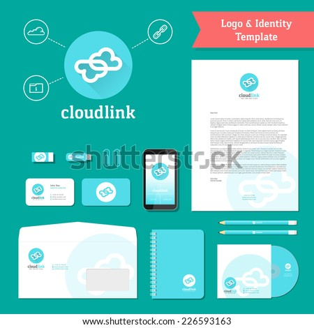 Cloud Link Logo and Identity Template with Flat Style Stationary Mockup Letterhead Envelope Smartphone Business Cards etc.