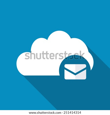 Cloud Mail Icon in flat style with long shadow - stock vector