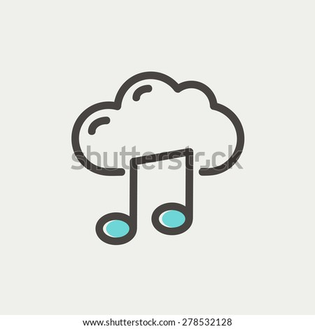 Cloud melody icon thin line for web and mobile, modern minimalistic flat design. Vector icon with dark grey outline and offset colour on light grey background. - stock vector