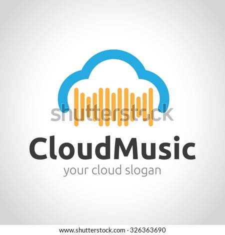 Cloud Music,Cloud Logo,Vector Logo Template - stock vector