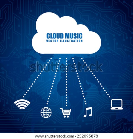 cloud music design, vector illustration eps10 graphic