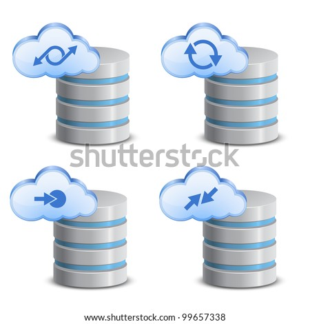 Cloud network backup. On-line backup service - stock vector